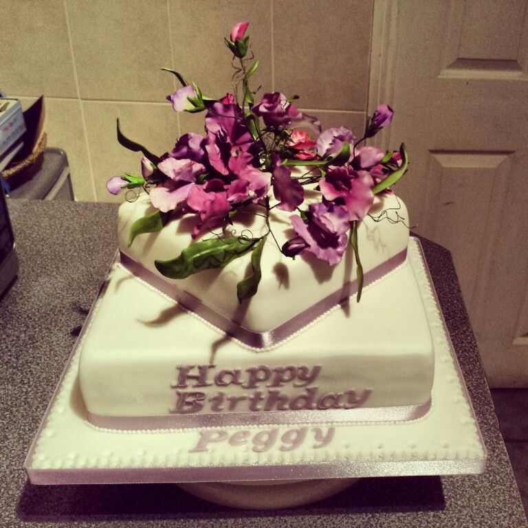 90th Birthday Cake With Sugar Sweetpeas Cake Decorating Pinterest