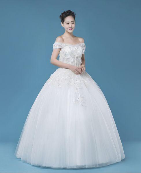 Off shoulder A-line floor-length wedding dress, charming wedding ...