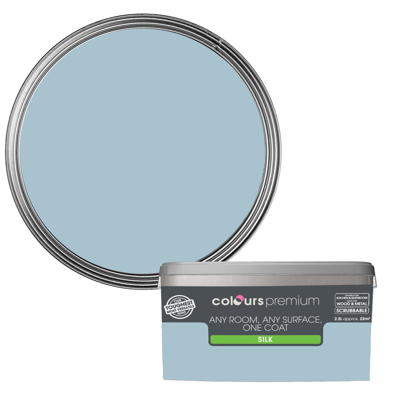 Colours Premium Any Room One Coat Ciel Silk Emulsion Paint 2 5l Departments Diy At B Q Colours B Q Ciel