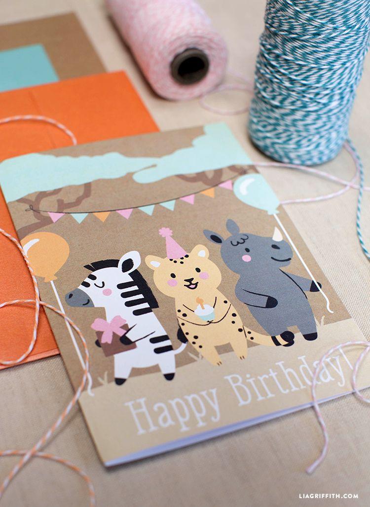 Kidu0027s Happy Birthday Cards Carte, Compleanno a tema animali e Felice - freeprintable birthday cards
