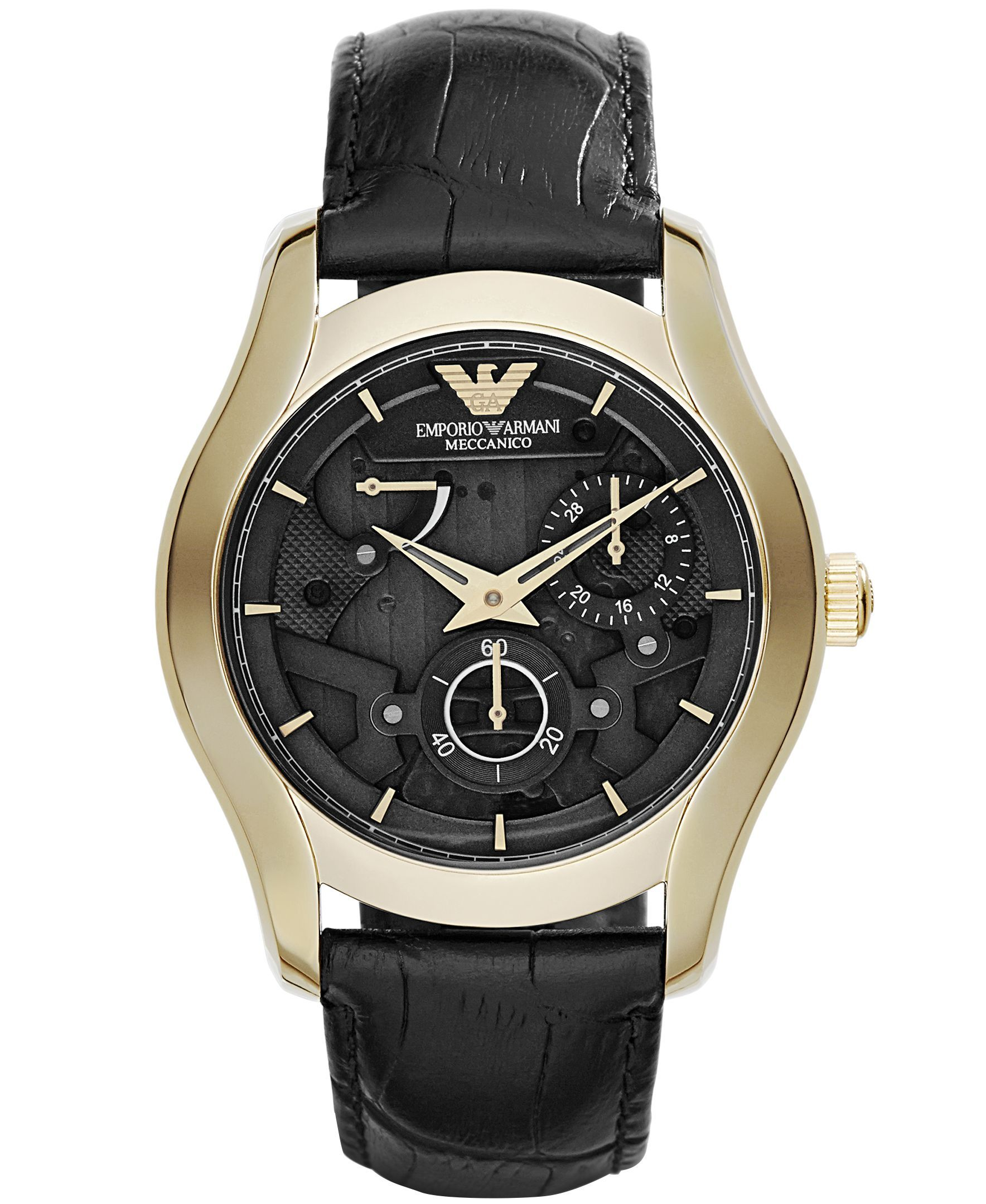 Emporio Armani Men's Automatic Meccanico Black Leather Strap Watch 43mm AR4674