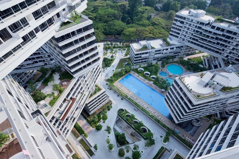 The interlace by oma ole scheeren forms a vertical village in singapore