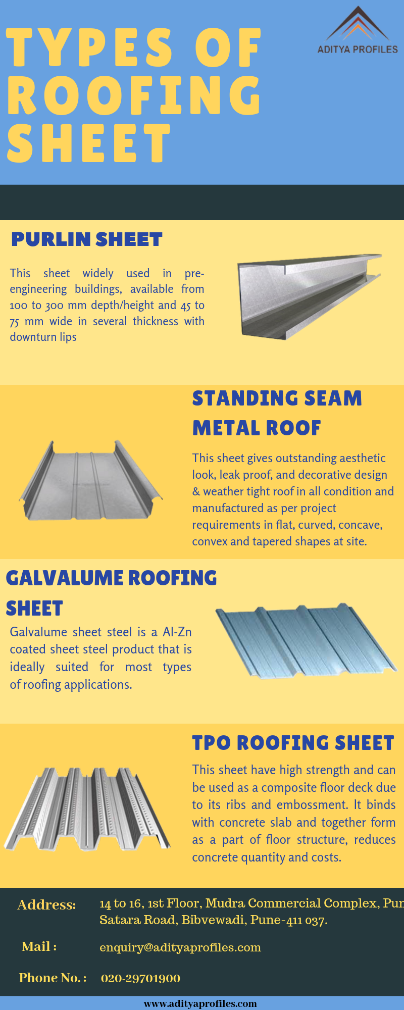 Aditya Profiles Is The Leading Roof Sheet Manufacturer And Supplier They Provides Sheet Eg Metal Roofing Sheets Roofing Standing Seam Metal Roof Roofing Sheets