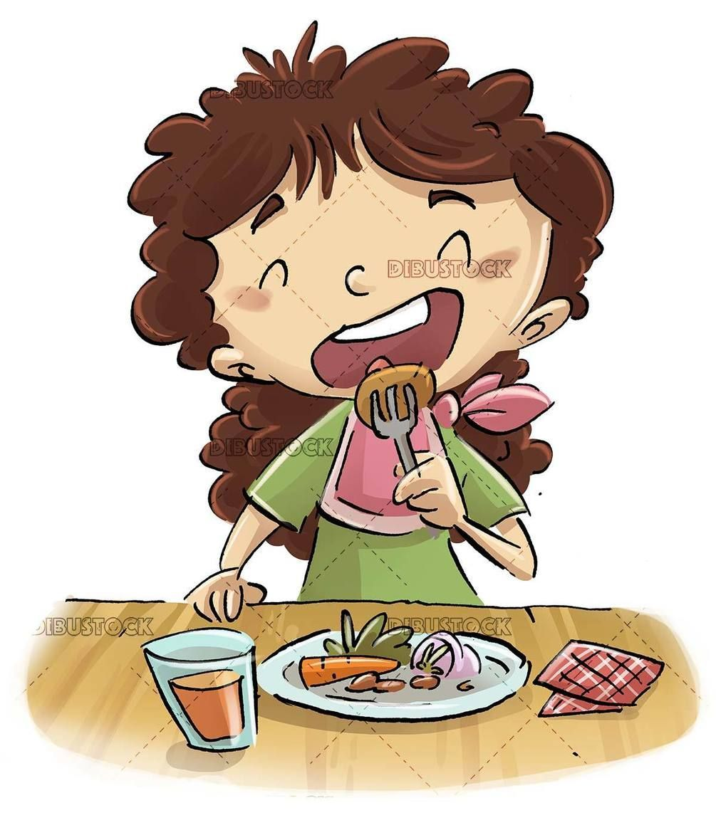 Child Eating Food Fork Plate Food Kitchen Table Glass Vegetables Healthy Food Open Mouth Girl Childhoo In 2020 Food Cartoon Cartoons Eating Earth Drawings