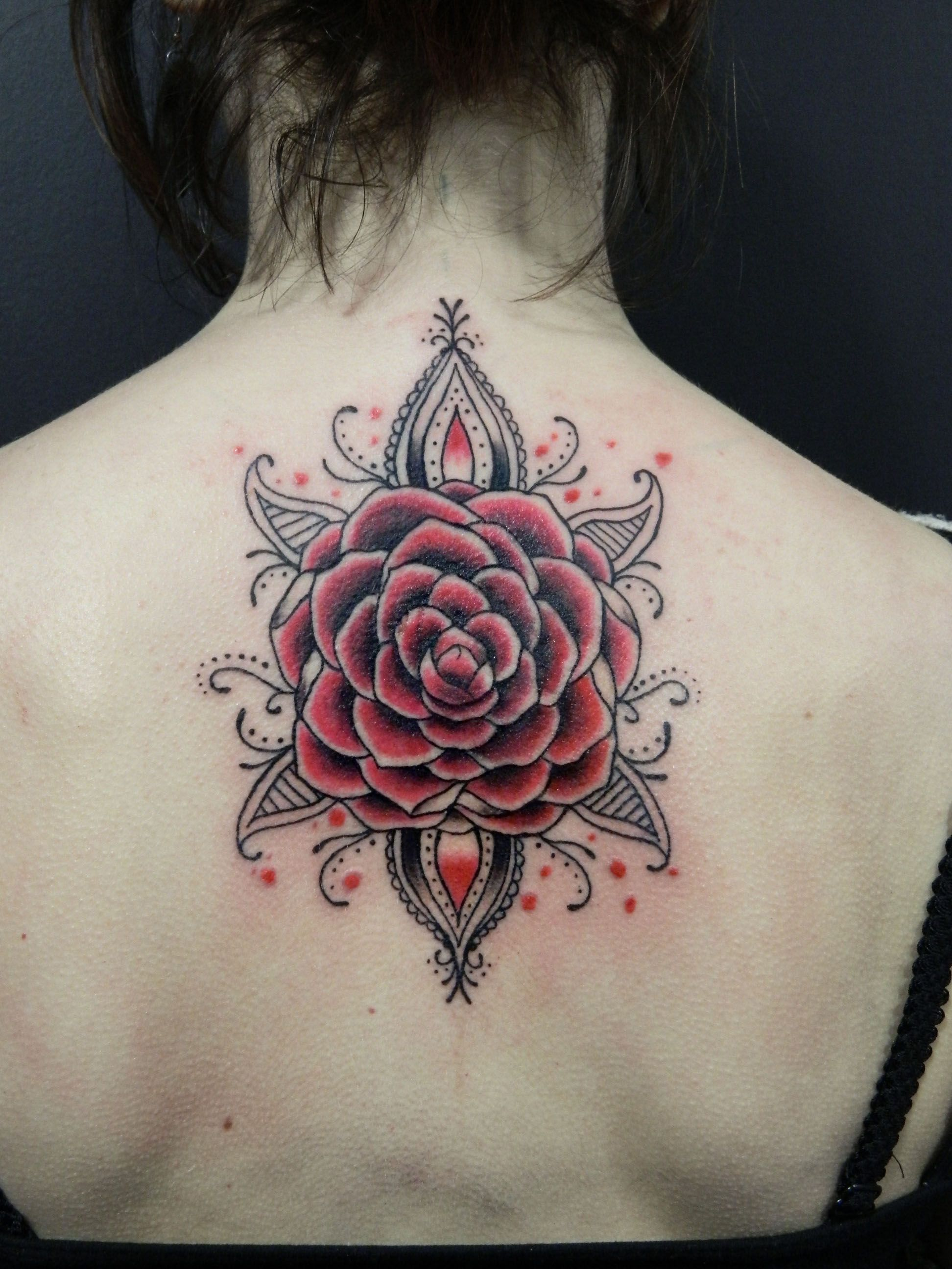 620637f4f Camellia flower tattoo - black & grey, red. By Elisa Devihate ...