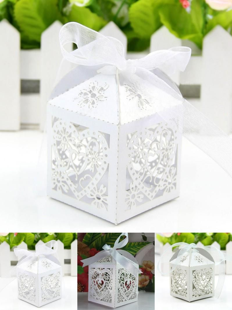 [Visit to Buy] Cut Love Heart Laser Candy Gift Boxes With Ribbon Wedding Party Favor 50Pcs 2017 Hot #Advertisement