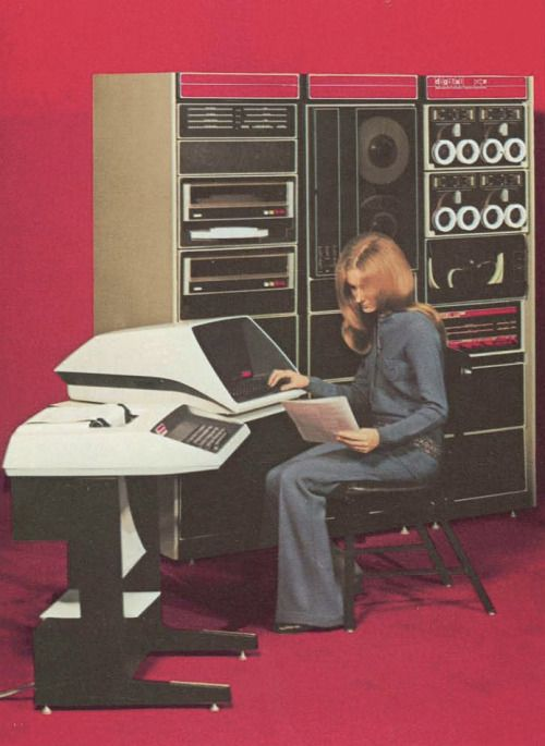 Great promotional image of a PDP-11. Looks like an LA30 DecWriter ...