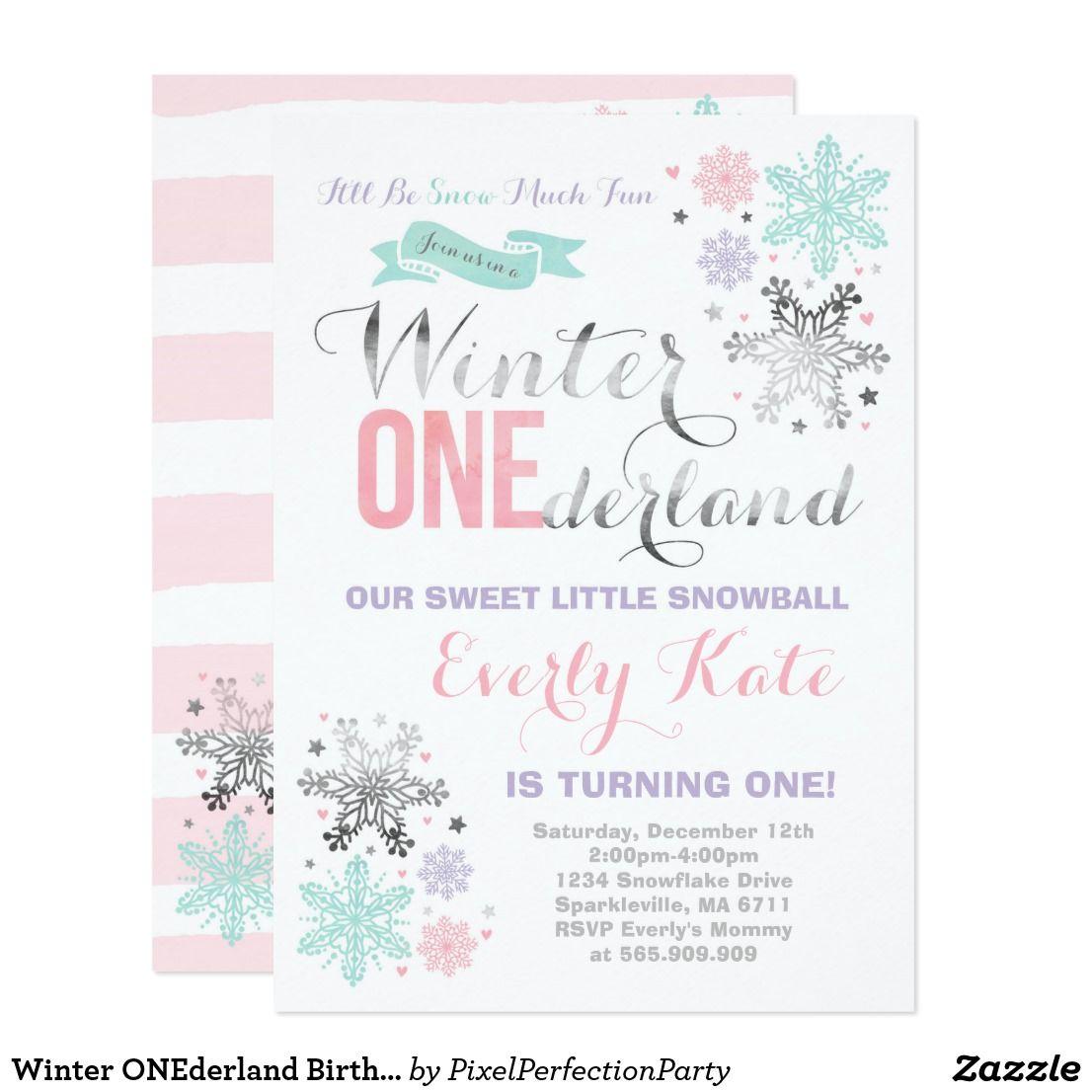 Winter ONEderland Birthday Invitation Pink Silver | Birthday Bash ...
