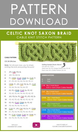 Download Celtic Cable | Saxon Braid Stitch Pattern