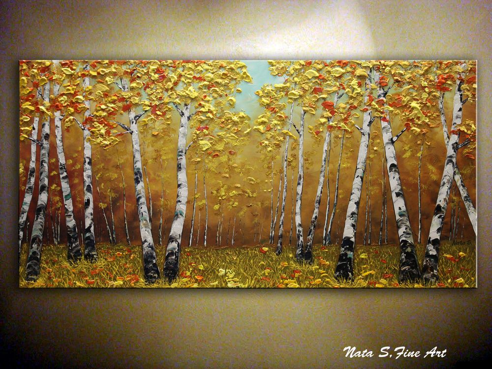 Fall Birch Tree Painting.Abstract Birch Forest Painting 24\