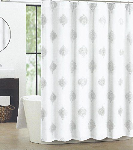 white and silver shower curtain. Tahari Home Silver Medallion Istanbul Shower Curtain  Shiny Bright on White http