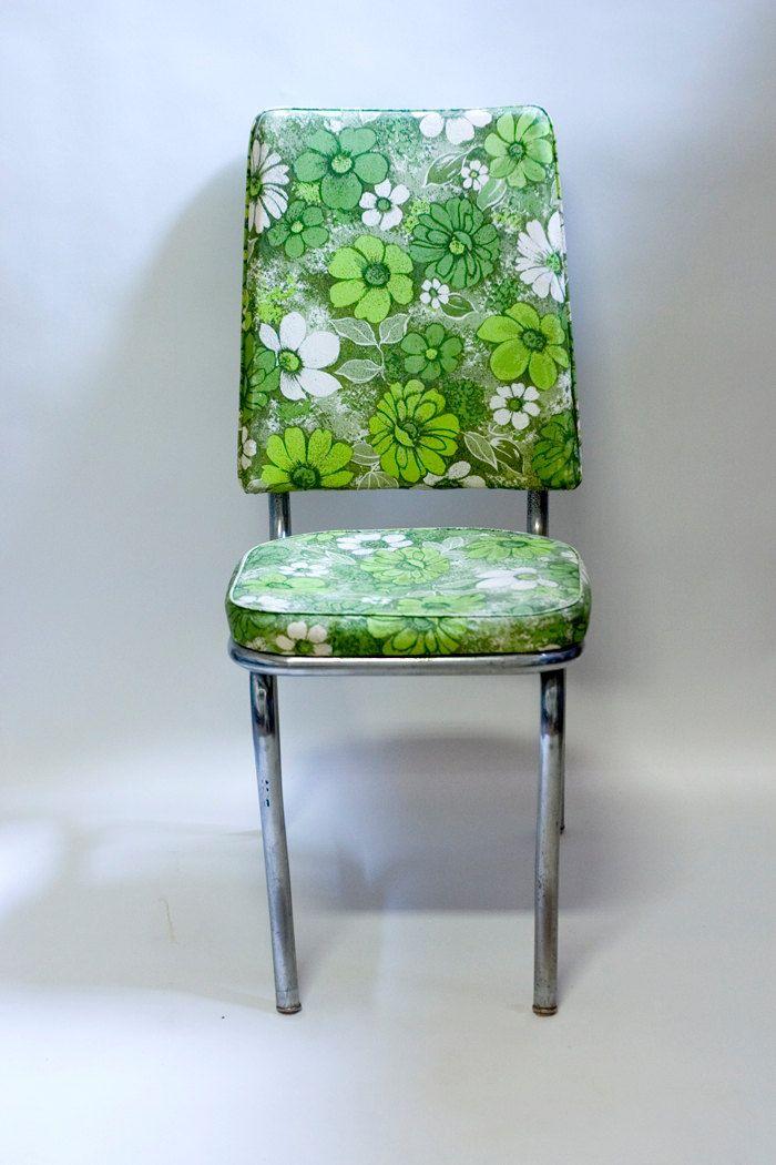 Mid Century Chrome Kitchen Chairs 1950s Green Floral Vinyl ...