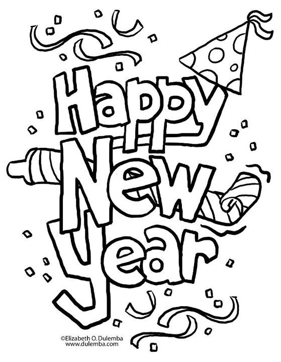 Coloring Page New Year Coloring Pages New Year Clipart Newyear