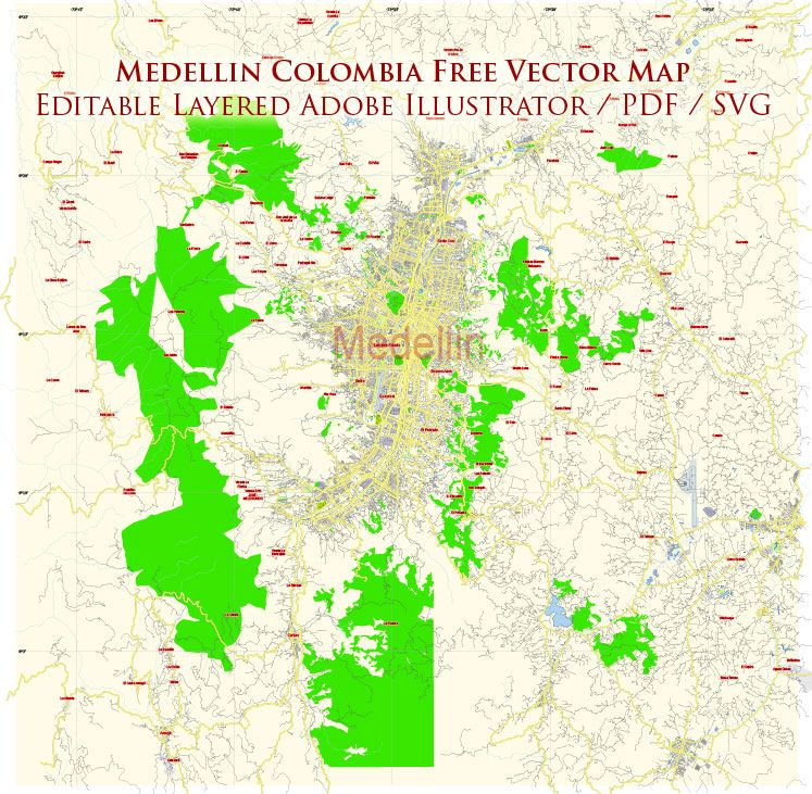 Medellin Colombia Vector Map FREE Download Adobe
