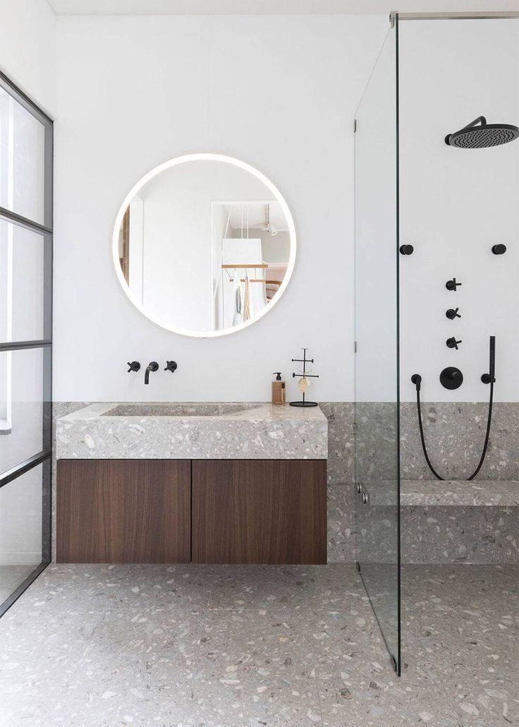 Modern bathroom with grey terrazzo floor and shower #bathroom #decor #terrazzo