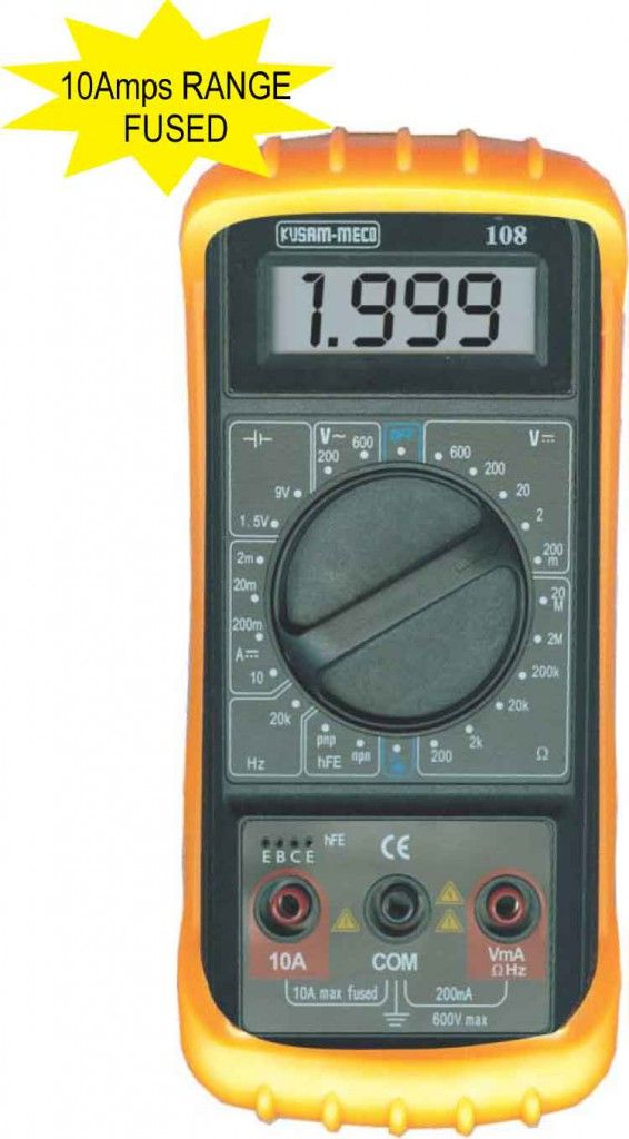 Km 108 Kusam Meco 1999 Counts Digital Multimeter Total Automation 10 A Fused High Accuracy Large Lcd Digital Readi With Images Multimeter Digital Digital Reading