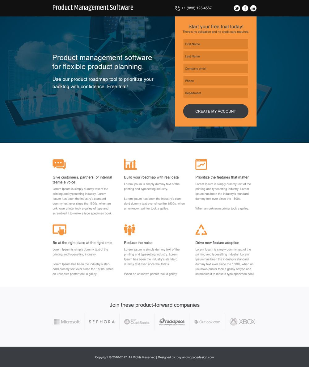 Product Management Software Free Trial Responsive Landing Page Landing Page Design Software Page Design