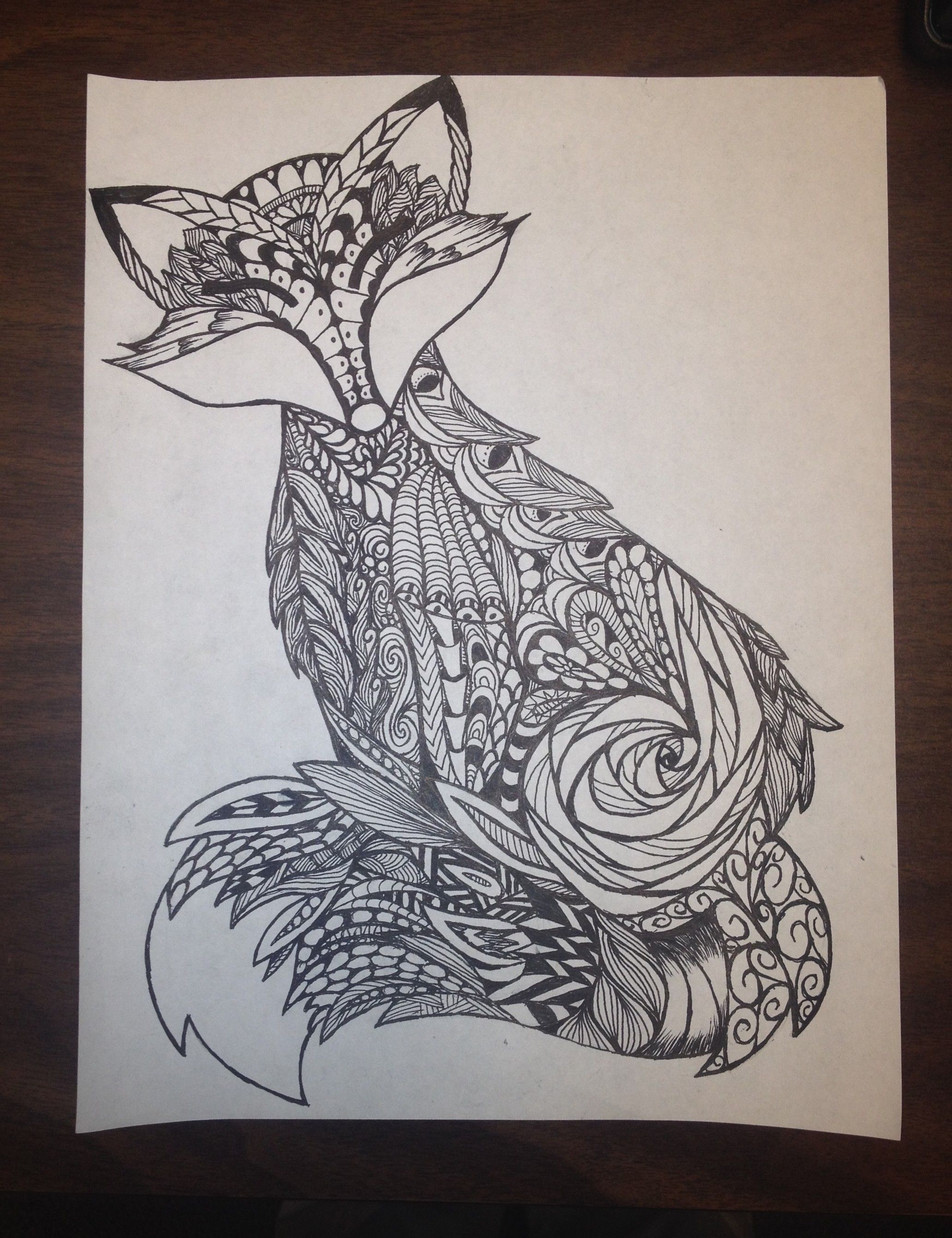fox zentangle - Google zoeken | zentangle dieren | Pinterest | Fuchs