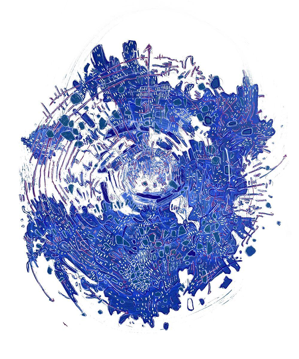 Blue portal eve austin white art design art illustration