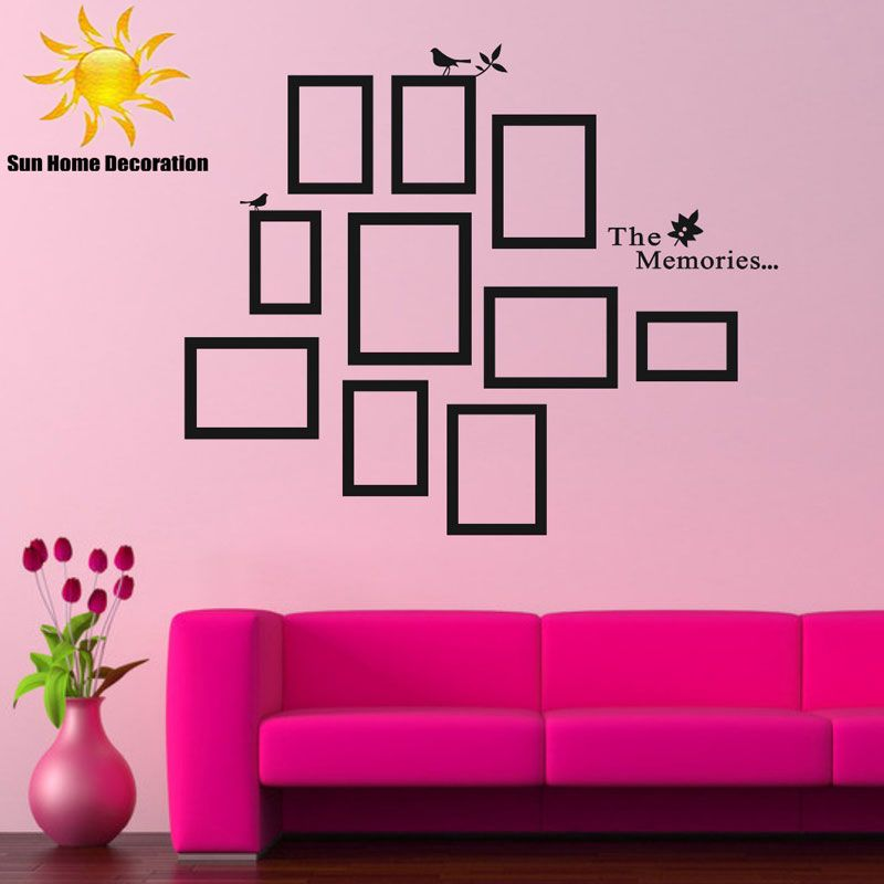 DIY Photo Frame Black Removable Vinyl Wall Stickers Decals Quote
