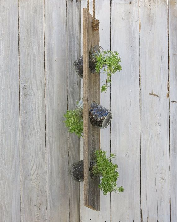 Hanging Outdoor Mason Jar Planter with Reclaimed by wayneworks, $18.00