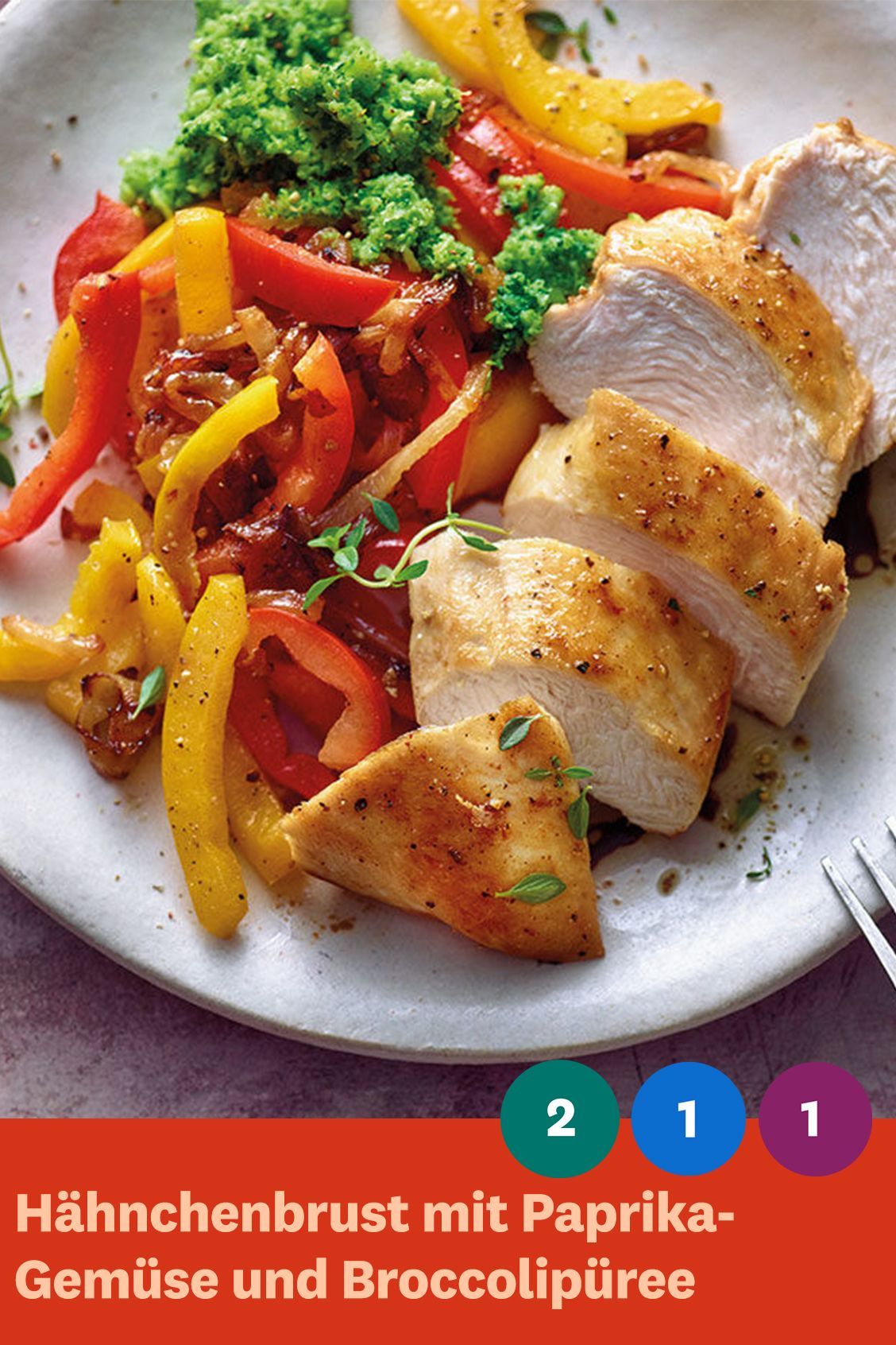 Photo of Chicken breast with peppers and broccoli puree