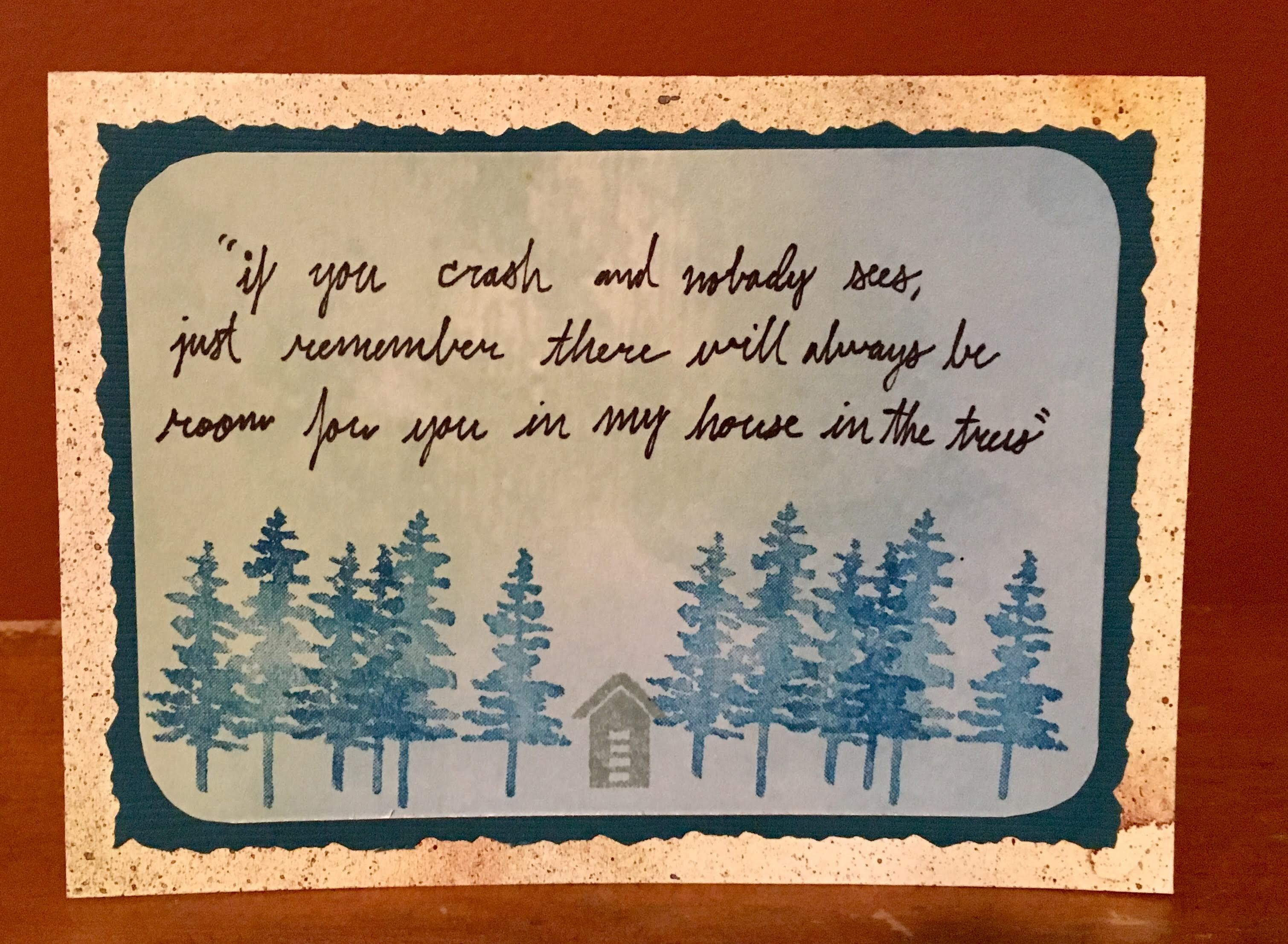 Handmade Stamped Card Hand Lettered Andrew Mcmahon Quote From
