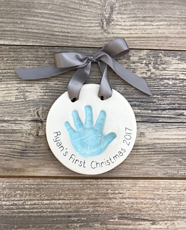 Baby Handprint Handprint Art Baby First Christmas Ornament Handprint Ornament Ceramic Handprint Ornament Baby Handprint Art Baby Baby Christmas Crafts Handprint Ornaments Baby Handprint Art
