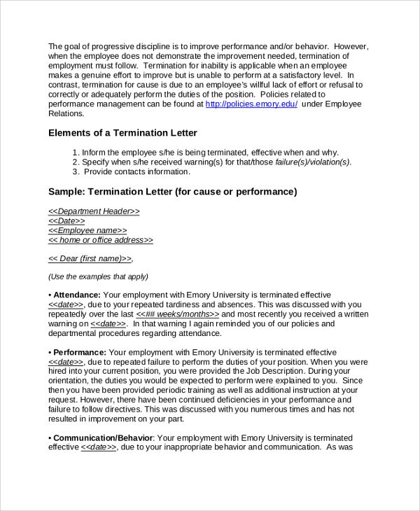 Sample Employment Termination Letter Documents Pdf Word Due Poor