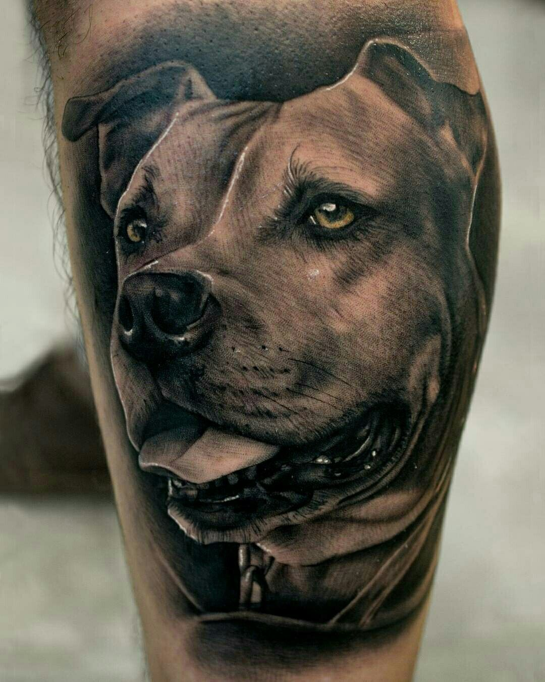 Tattoo Done By Pablo Hernandez Bambamsi Com Pitbull Amstaff