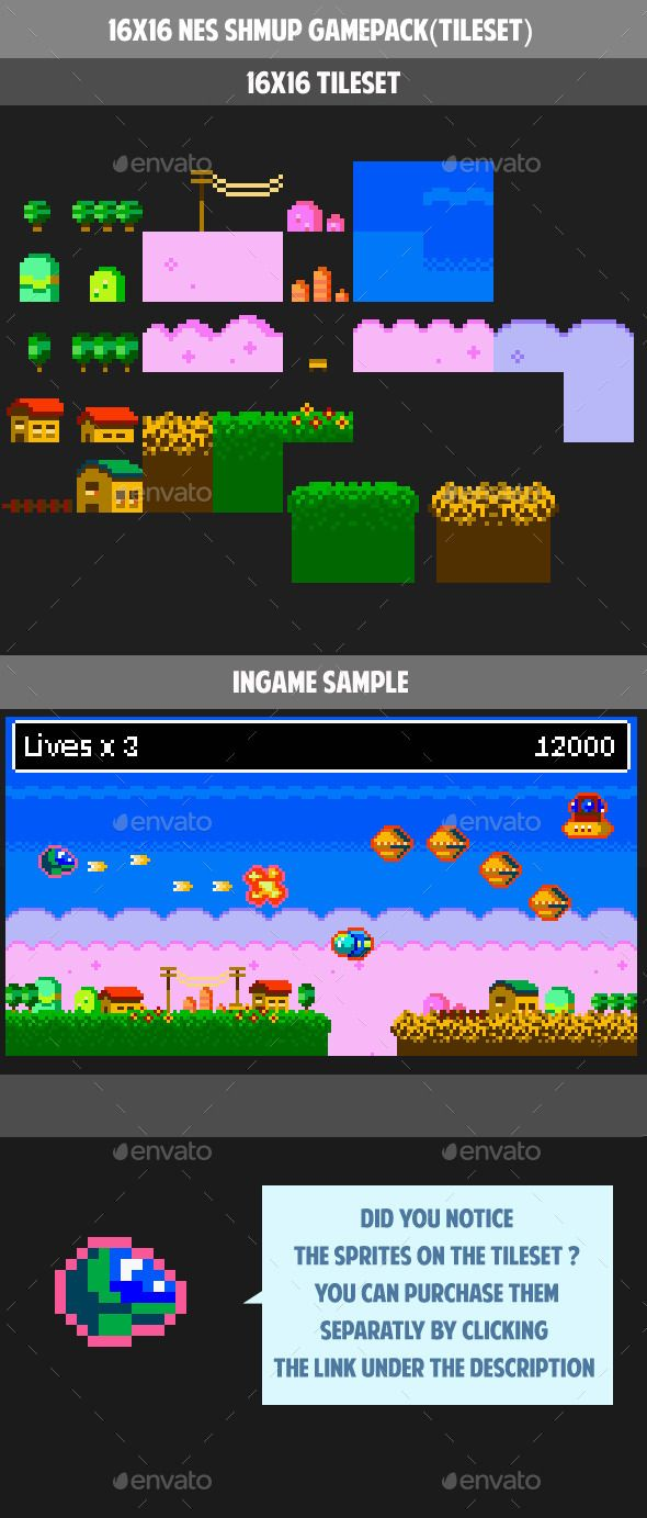 16X16 Tileset 16x16 nes shoot them up gamepack (tileset) (tilesets