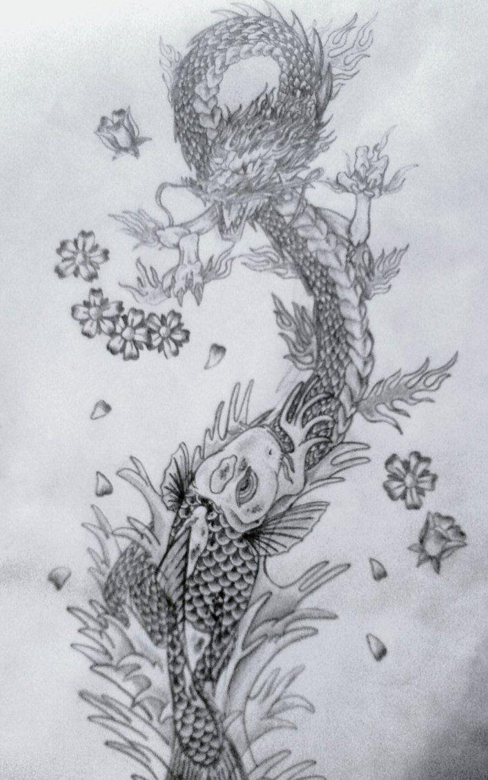 Koi And Dragon Fighting Tattoo Koi Dragon Tattoo Fighting Tattoo Japan Tattoo Design