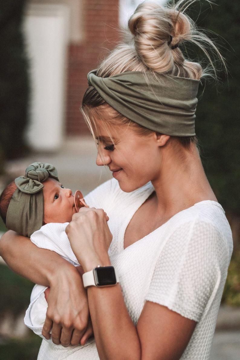 Photo of Sage : (Mommy & Me set) adult- BOHO twist; child – flat bow headband