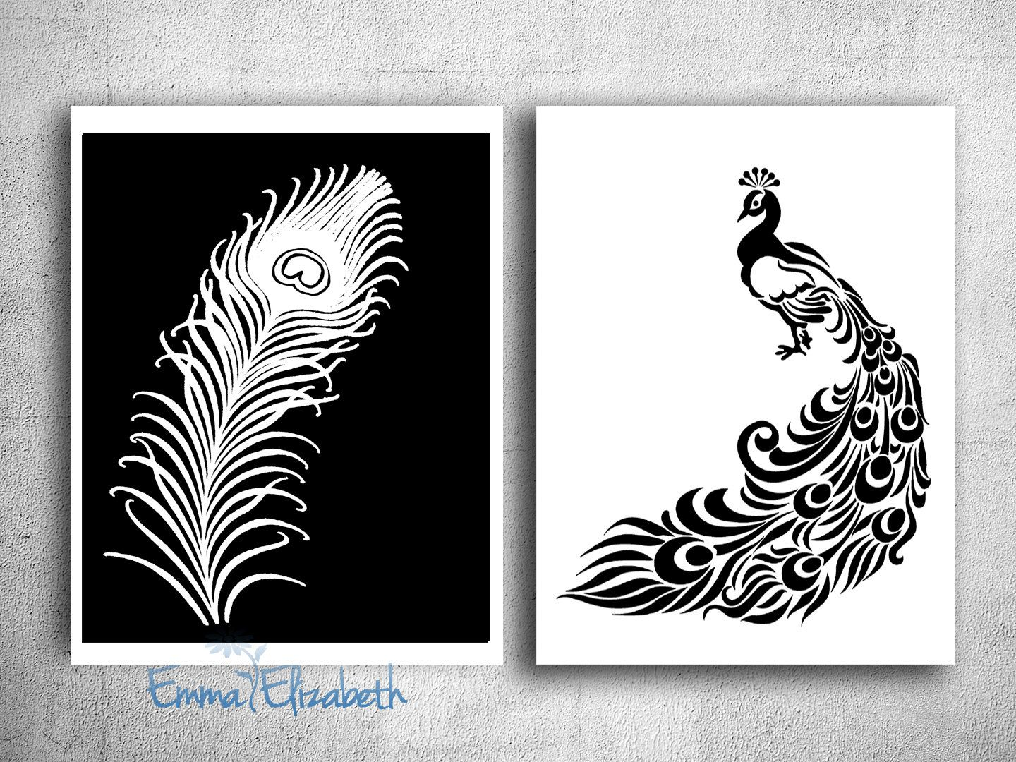 Home Decor Bathroom Wall Decor Peacock Art Print Feather Wall Decor Bath  Wall Art Modern Home Decor Black And White