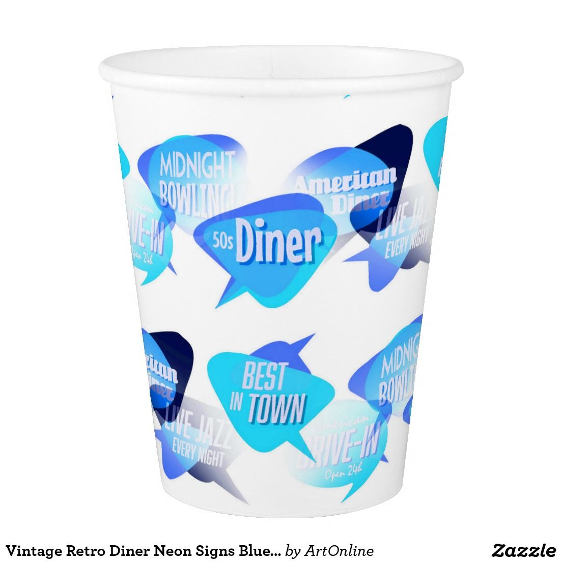retro theme party Vintage Retro Diner Neon Signs Blue Neon Paper Cups new zazzle product