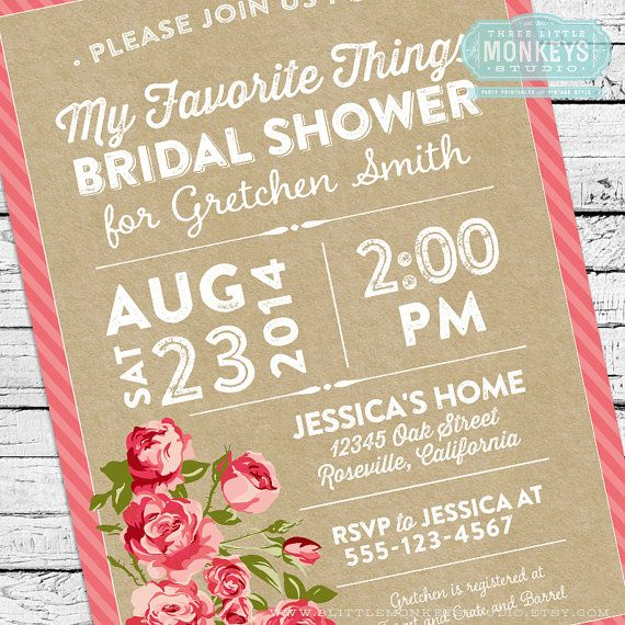 my favorite things bridal shower invitation