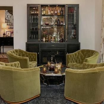 Hollywood Regency Green And Black Living Room With Metal Cat Bar Cabinet