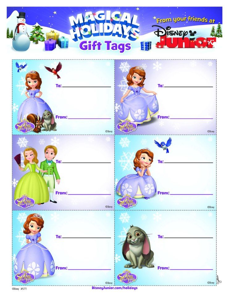 Sofia the First Holiday Gift Tags printable Disney Crafts Sofia