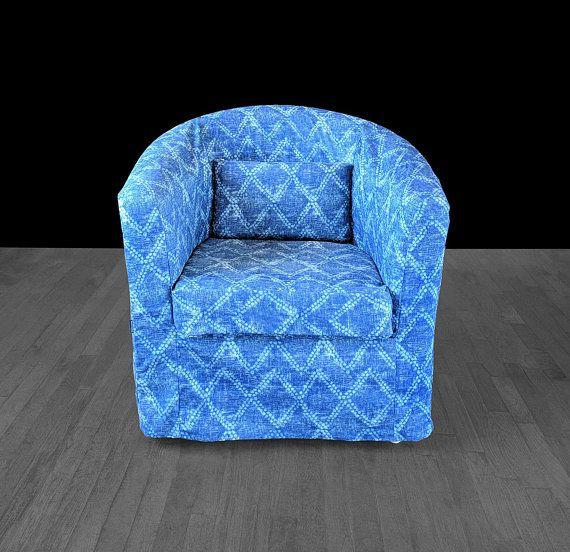 Fantastic Ikea Tullsta Chair Slip Cover Shibori Indigo Blue Diamond Ncnpc Chair Design For Home Ncnpcorg