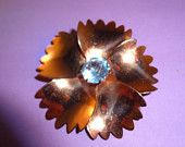 Sterling by Jordan Signed Flower Brooch with Blue Rhinestone Center