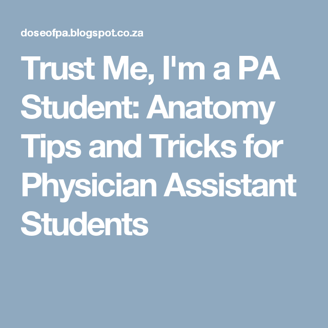 Trust Me, I'm a PA Student: Anatomy Tips and Tricks for Physician Assistant Students