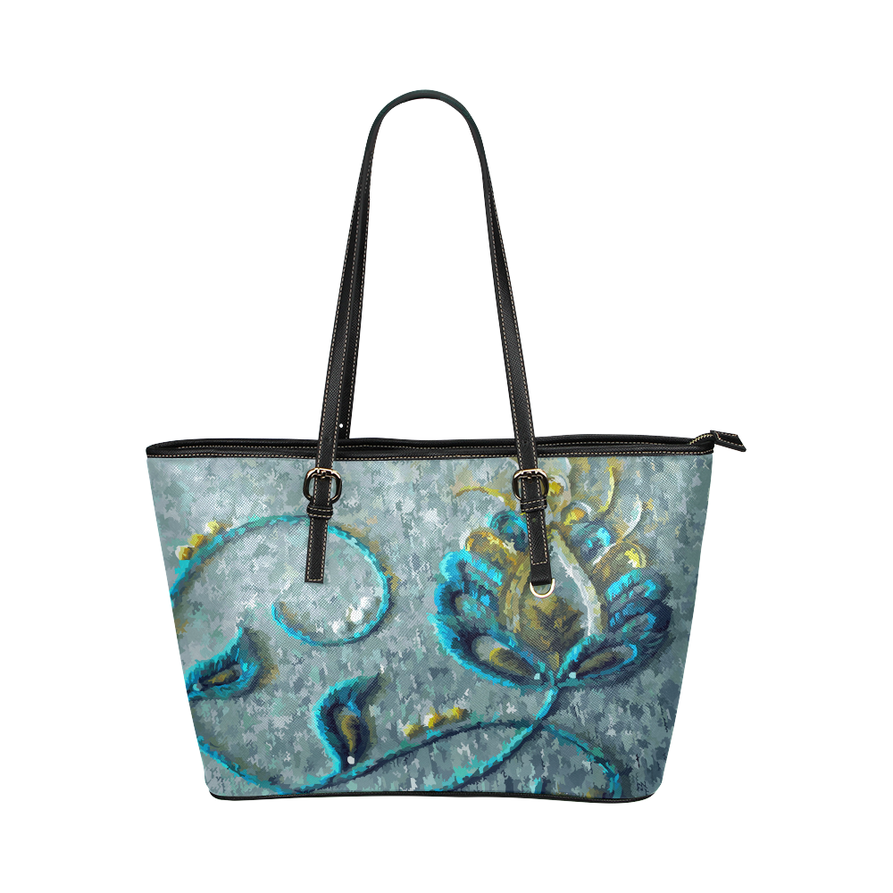 Gold Turquoise Jacobean Floral Landscape Leather Tote Bag/Small (Model 1651)