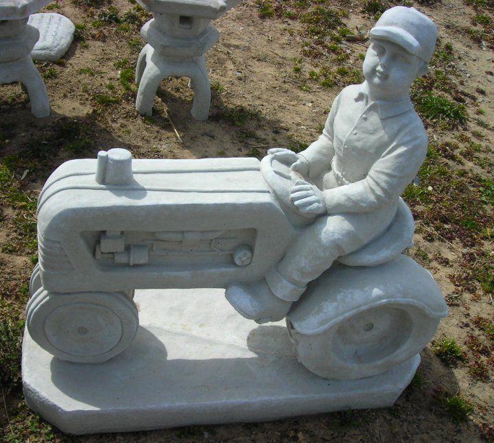 Farmer On Tractor Cement Garden Statue