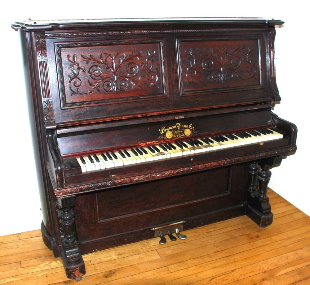Benches/stools Antiques Well Loved And Used. Precise Upright Victorian Piano With Fluting And Inlaid Decoration