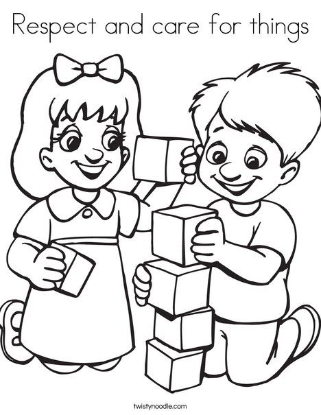 Respect And Care For Things Coloring Page From Twistynoodle Com Friendship Theme Preschool Coloring Pages Preschool Friendship