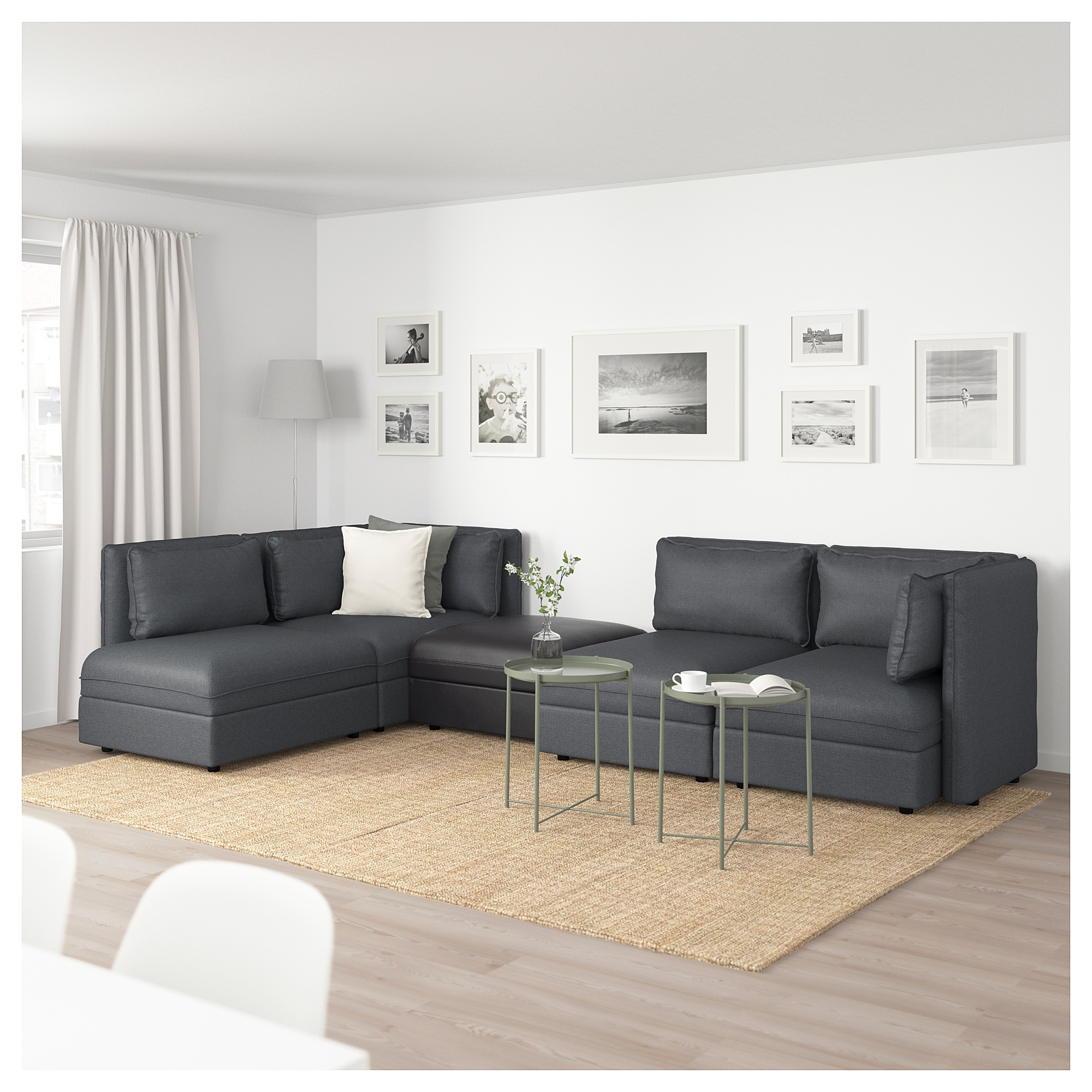 VALLENTUNA Modular corner sofa, 4seat with storage