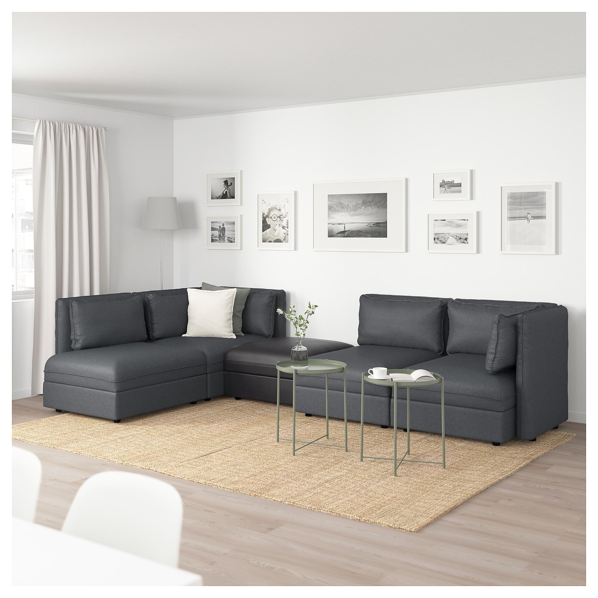 VALLENTUNA Modular corner sofa, 4seat with storage