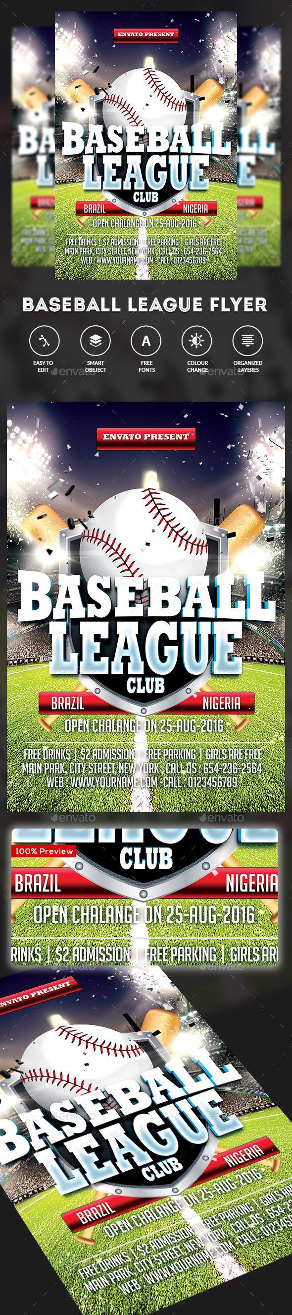 Baseball Flyer Flyer Template Psd Templates And Font Logo