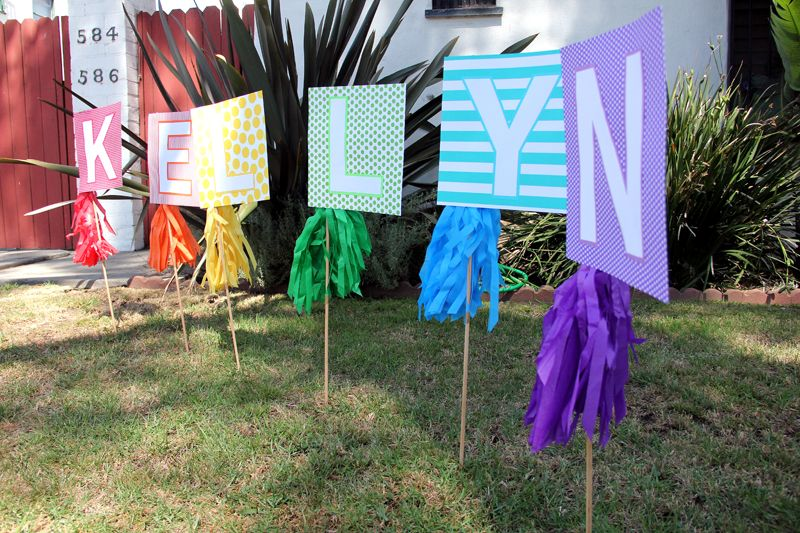 Diy Rainbow Birthday Name Sign For The Lawn Art Theme Party