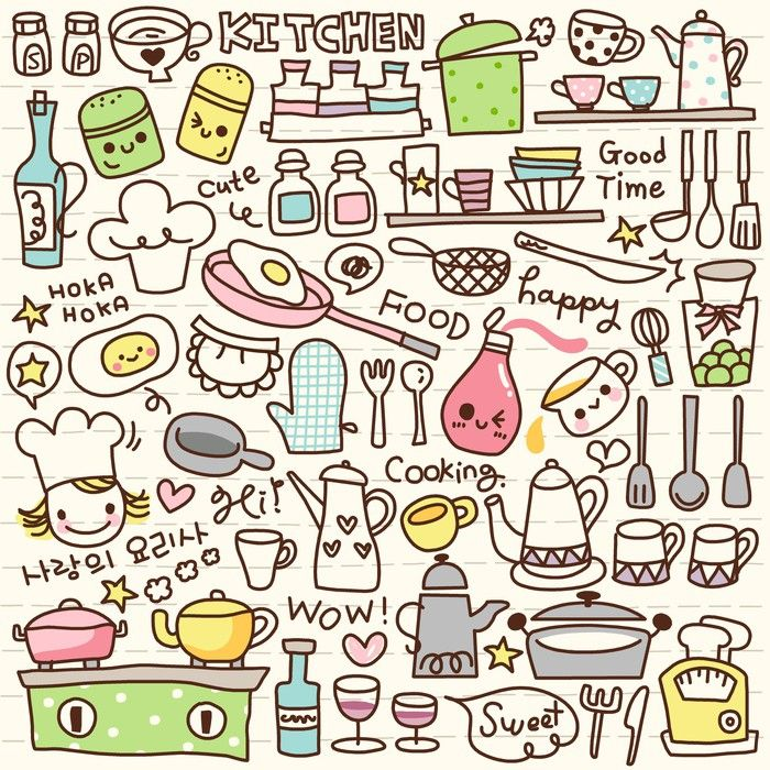 Cute Doodle Kitchen Stuff Wall Mural • Pixers® • We live ...